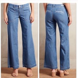 Pilcro And Letterpress Wide Leg Chambray Jeans